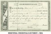 Ministerial Credentials (October 1, 1883)