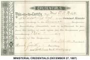 Ministerial Credentials (December 27, 1887)